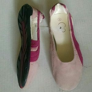 Girls OP Ocean Pacific leather pink slip-on shoes